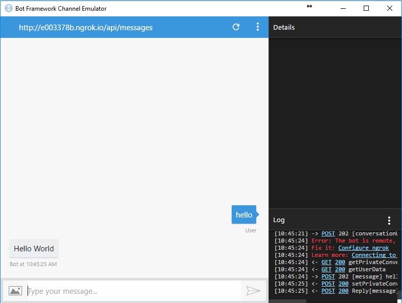 Bot - Write a Bot with Node js using Microsoft Bot Framework